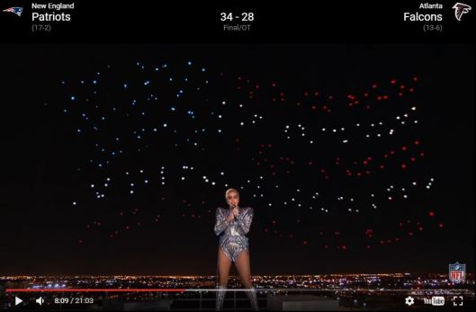 American flag in copter-drones over the Super Bowl LI