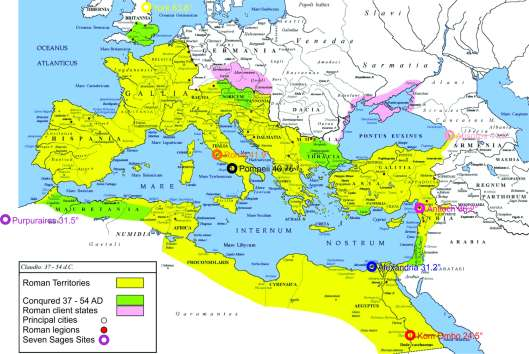 A map of the Roman Empire 54 AD.
