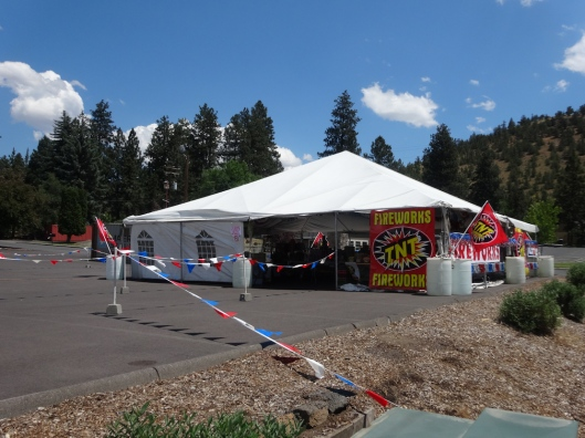 A fireworks store in the forest