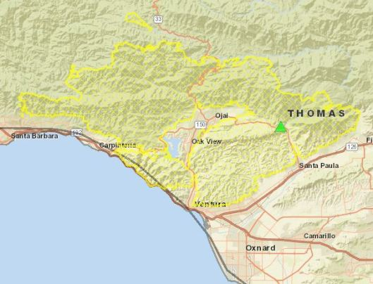Map of the Thomas forest fire California 2017
