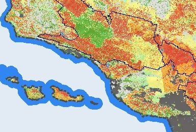 Forest Service wild fire risk near Santa Barbara, CA